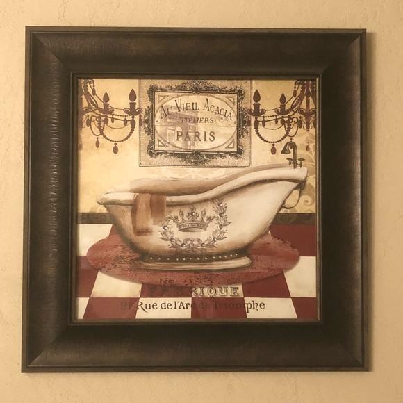 Wall Art Framed French Bath Bathroom Poshmark